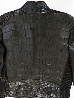 $27995 FREDO FERRUCCI Crocodile Alligator Lamb Leather Jacket Size 54 EU 44 US