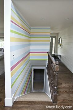 Striped colorful wall #paint #color - would look cool in the stairwell/basement