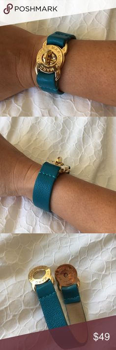 "'Turnlock' Leather Bracelet Crackled yet glossy leather colorfully bands a logoed bracelet finished with a shiny, functional turnlock closure. 7 5/8"" length; 3/4"" width. Colors: teal and gold Marc by Marc Jacobs Accessories"