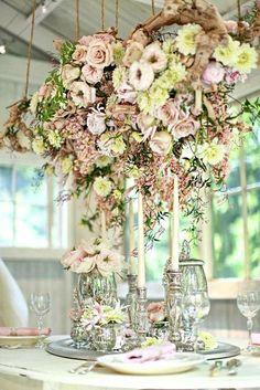 Marquee, hanging flower arrangement