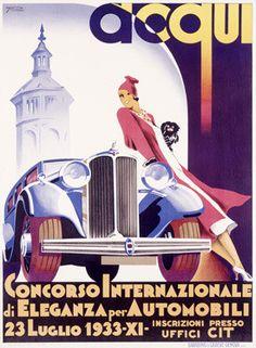 Automobile Concours Car Show Advertisement by F. Romoli Fine Art Print