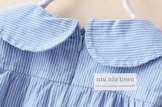 00019 TJ-6J198 Free shipping 5 pcs/lot Wholesale Girls Qunshan three vertical stripes colored lapel Wawa Shan http://www.aliexpress.com/store/1047972