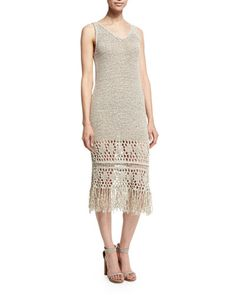 TC0J8 Elie Tahari Jamila Sleeveless Fringe-Trim Dress, Light Stone