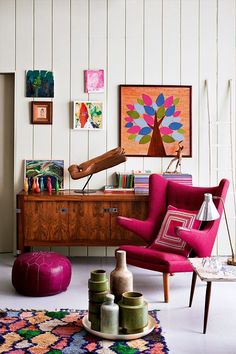 Colourful living space via Door Sixteen