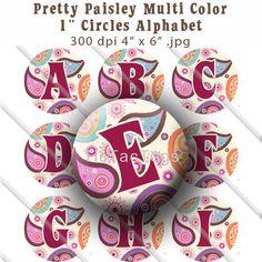 Buy 2 GET 1 FREE - Instant Download - Paisley Multi Color Alphabet Bottle Cap Images Digital Collage Set 1 Inch Circle Digi
