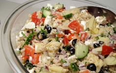 Greek Rice Salad from Food.com: Found this recipe on the web. Sounds like it would be a great potluck or party salad.