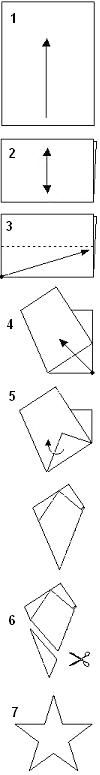 How to make/cut a five-pointed-star from a 8 1/2 by 11 sheet of paper.  Written instructions included.