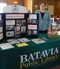 Michele promoting Library programs and computer classes during a Senior Fair at the Batavia VFW. Seniors love our programs!