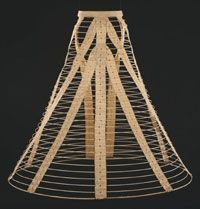 27-10-11 Hoop Skirt    Made in Bridgeport, Connecticut, United States  c. 1865    Made by the Bridgeport Skirt Company, Bridgeport, Connecticut    Cotton-covered spring steel hoops; cotton tapes; leather front bindings; tinned steel buckle and fasteners; copper alloy fasteners  Diameter (of bottom hoop): 39 inches (99.1 cm)
