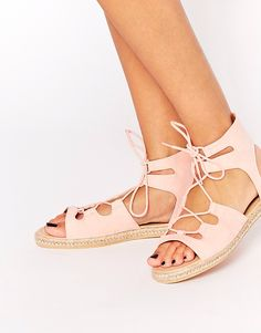 Pink lace up gladiators