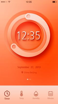 Amazing screen design for an iOS application. Love the colours and how realistic the central graphics look.