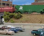 Combine roads and rails easily in N Scale scenes with the Cornerstone Urban Steel Overpass kit. Brick Paper, Model Train Layouts, Retaining Walls, Models, Camden, Model Trains, Backdrops, Scenery, Deck