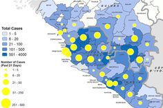 Geographical distribution of probable and confirmed cases from November 1- November 21, 2014 and total cases in Guinea, Liberia, and Sierra Leone. Ebola virus context.