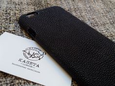 Stingray leather iPhone 6 6s case 'Black' by KasetaLeather on Etsy