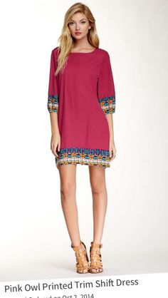 Wow...this is beyond cute! Pink Owl Printed Trim Shift Dress