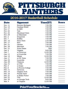 Pittsburgh Panthers 2016-2017 College Basketball Schedule