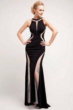Geometric Halter Neck Mesh Insert Dress - Black on Wanelo