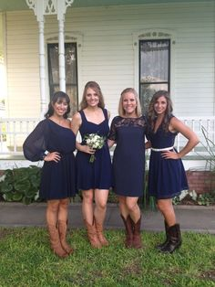 Cowboy Boots Wedding Bridesmaids | Navy bridesmaids dress with cowboy boots