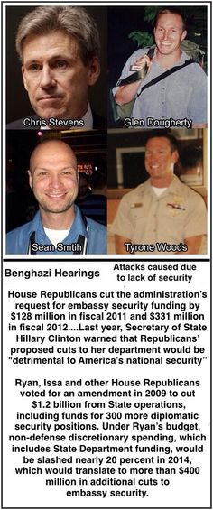Republicans create a situation in which people are killed and then investigate to see who is responsible. VOTE THEM OUT 2014