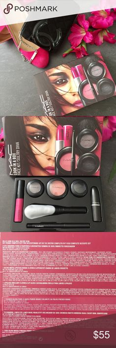 MAC Look In a Box Sultry Diva set The perfect MAC makeup kit in Sultry Diva. Comes with 2 eyeshadows, blush & brush, eyeliner, lipstick, & lipgloss! All brand new and never swatched. MAC Cosmetics Makeup