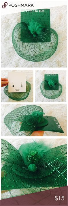 🍀St. Patty's Shamrock Fascinator Hat 🍀 Adorable green shamrock clip on hat! One size fits all! Clips directly into your hair! Accessories Hats