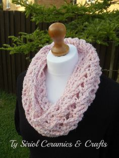 Beautiful baby pink cowl infinity scarf by TySiriolCeramics on Etsy, £15.00