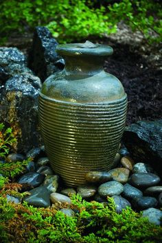 affordable diy fountains for your landscape, gardening, ponds water features, Amphora vase fountain Large Outdoor Fountains, Garden Water Fountains, Diy Fountain, Small Fountains, Water Gardens, Fountain Lights, Fountain Design, Stone Fountains, Outdoor Stone