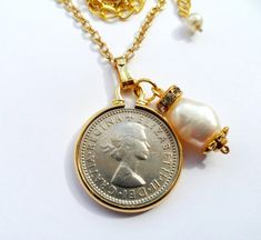 Lucky British Sixpence Coin Necklace- Minted 1958- Symbols- Scotland England Ireland & Wales. Freshwater Pearl Unit.Hadmade by campsiebelle by campsiebelle on Etsy