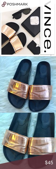 Vince Slides Rose gold Vince slides. Overall very good condition. Some scuffing (shown.) I have some gorgeous Vince Pumps for sale as well.   ✨Open to offers ✨ 20% discount on bundles Vince Shoes Sandals