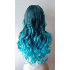 Turquoise Teal Ombre Wig Pastel Wig Long Curly Hairstyle Wig for Daily... ($140) ❤ liked on Polyvore featuring beauty products, haircare, hair styling tools, hair, hair styles, hairstyles, wigs, beauty and curly hair care