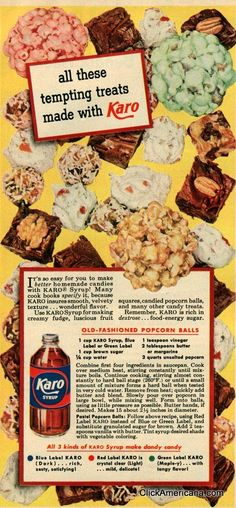 Old-fashioned popcorn balls recipe (1950). #vintage #food #recipes #Christmas #1950s