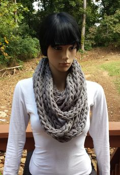 """This Chunky Infinity Scarf will quickly become your favorite, winter """"go to"""" accessory. Quick and easy, you can crochet this pattern in less than 2 hours as the bulky yarn and hook make this pattern a win-win. Crochet Gifts, Crochet Hooks, Crochet Infinity Scarf Pattern, Stitch Patterns, Crochet Patterns, Chunky Infinity Scarves, Crochet For Beginners, Winter, Easy"""