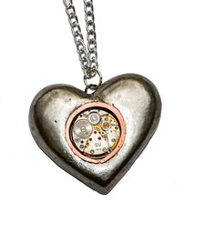 Steampunk Solid Tin Pewter Heart Pendant Necklace containing Watch Movement. Ideal 10th Anniversary Gift. Hand Cast in Cornwall, UK. by thelongwayround on Etsy