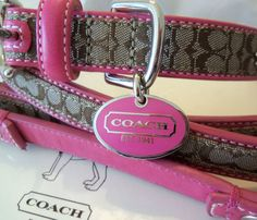 NEW COACH PINK SET EXTRA SMALL SMALL MEDIUM LARGE DOG COLLAR LEASH XS S M L | eBay