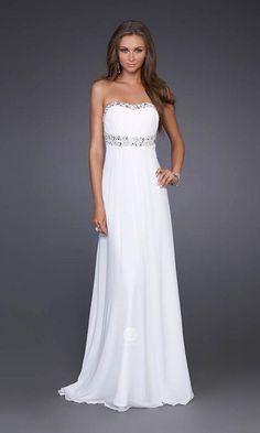 Sheath Beaded Strapless White Backless Evening Dress