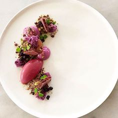 Blueberry, pistachio, chocolate & violet. Great dessert uploaded by @chefgustavsson #gastroart