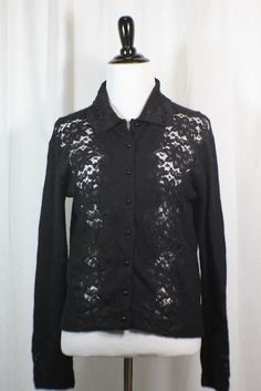 08fb3ac973673 HWR Women s Black Long Sleeved Lambswool Nylon Button Down Sweater L  HWR   Collared Stylist