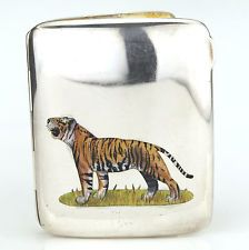 Rare Antique Sterling Silver & Enamel Tiger Cigarette Case, Birmingham 1909