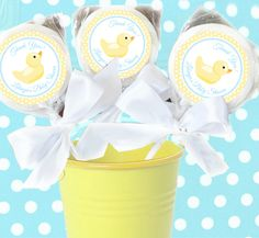 Rubber Ducky Party Lollipops | Personalised Rubber Ducky LolliPops - Pink Frosting Party Shop