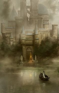A fantasy world Fantasy City, Fantasy Castle, Fantasy Places, Fantasy World, Dark Fantasy, Fairytale Castle, Elfen Fantasy, The Lady Of Shalott, Creation Art