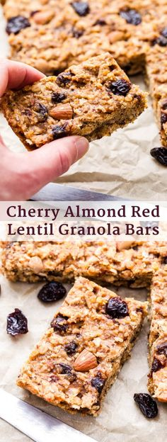 Cherry Almond Red Lentil Granola Bars are perfect for refueling with post-workout or for a healthy and delicious snack! These soft and chewy bars are packed with nutrients thanks to red lentils, and I promise, you won't even know they're in there! Sweet Recipes, Real Food Recipes, Snack Recipes, Healthy Recipes, Healthy Sweets, Easy Desserts, Delicious Desserts, Red Lentil Recipes, Granola Bars