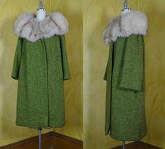 1960s Glorious Silver Fox Fur Collar & Green Wool by BrideOfTheFox