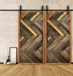 Modern vertical herringbone wood door. I'd probably adopt this for a wall.