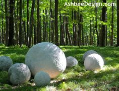 how to make large concrete sphere garden sculptures, some as large as yoga balls