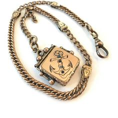 Vintage Victorian Watch Chain Fob Antique Rose Gold Filled Locket... ($89) ❤ liked on Polyvore featuring jewelry, garnet jewelry, antique victorian locket, vintage pearl jewelry, antique pearl jewellery and anchor jewelry