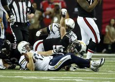 Chargers vs. Falcons:     October 23, 2016  -  33-30, Chargers  -       Oct 23, 2016; Atlanta, GA, USA; Atlanta Falcons defensive end Brooks Reed (50) celebrates his sack of San Diego Chargers quarterback Philip Rivers (17) in the second quarter of their game at the Georgia Dome. Mandatory Credit: Jason Getz-USA TODAY Sports