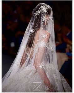 Zia Nakad Bridal Wedding Dress with sparkly star veil