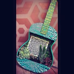 Remade kaput guitar :)  #guitar #music #broken #craft #plants #cacti #cactus #pattern #trippy
