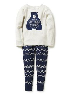 Cotton 1x1 rib long sleeve tee with front bear print. Long john style pants with elastic waist and all over mountain print. Sold as a set.