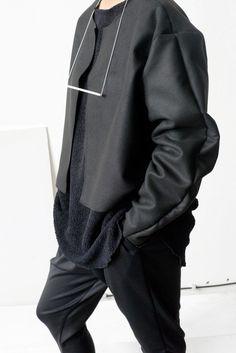 DREVENÁ HELENA Unisex Black Felt Jacket